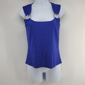 Cable and Gauge Blue Sleeveless Knit Top Size Sm